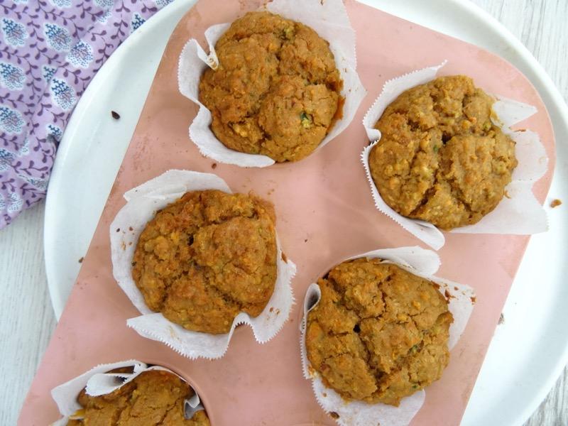 carrot and zucchini amazake muffins