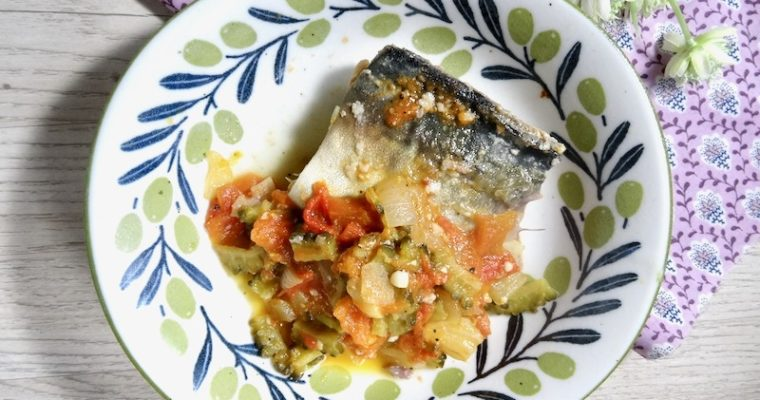 braised mackerel and bitter melon in tomato sauce
