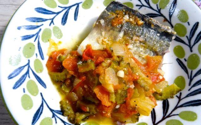 braised mackerel and bitter melon in shio-koji tomato sauce