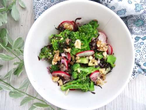 Broccoli and radish salad with shio-koji mustard dressing
