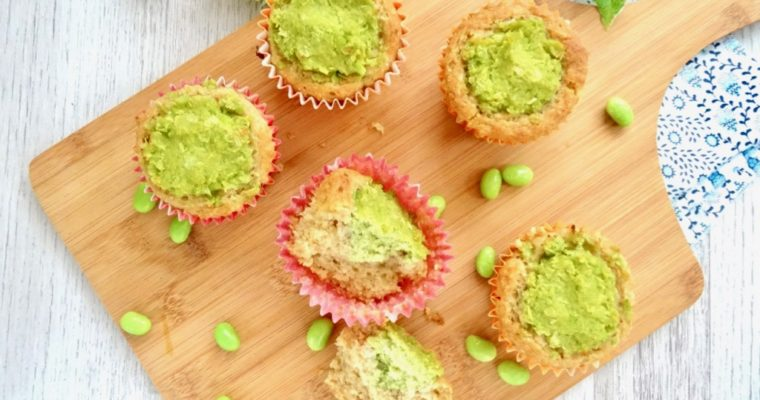 Gluten free Zunda (edamame) filled muffins, naturally sweetened with Amazake!