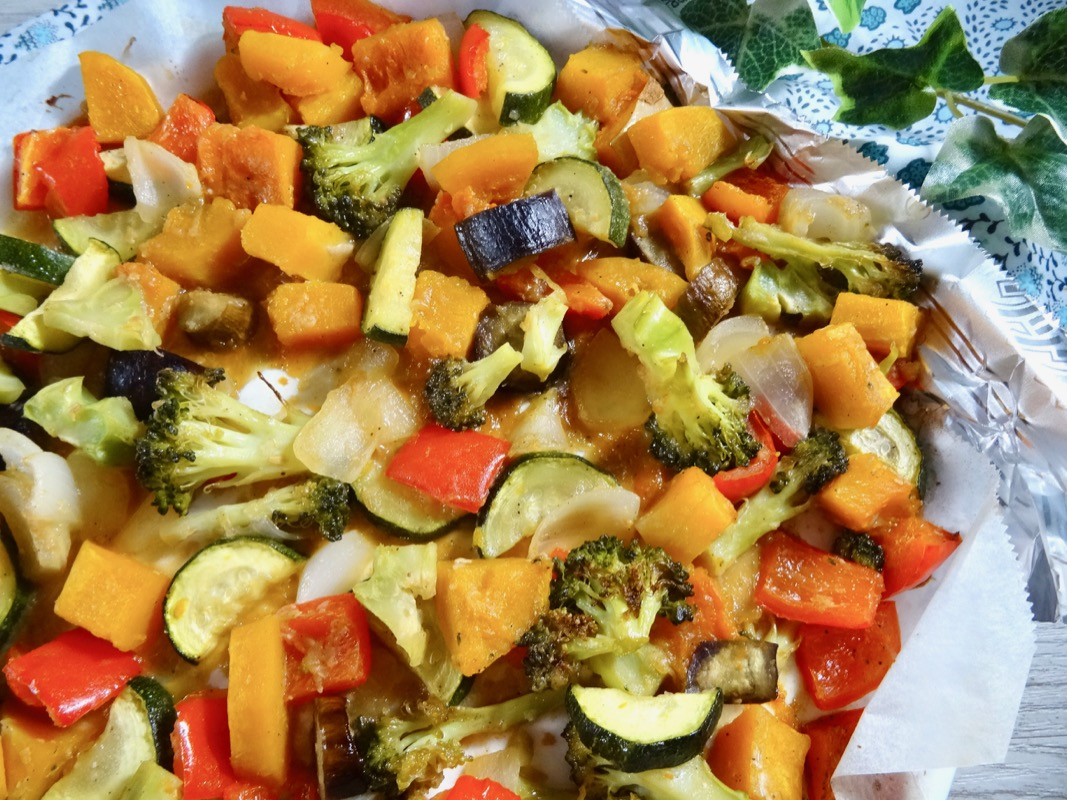 Roasted vegetables with garlic miso sauce