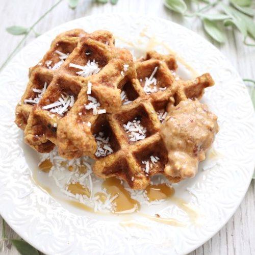 single serving coconut flour carrot cake waffles