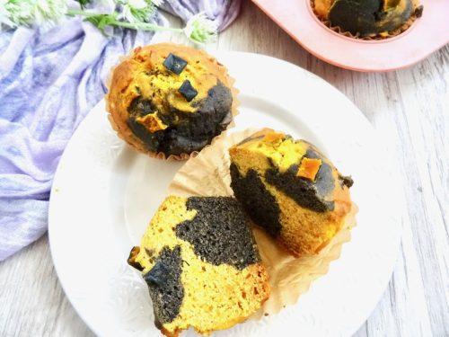グルテンフリー かぼちゃと黒ごまのヘルシーなマーブルマフィン
