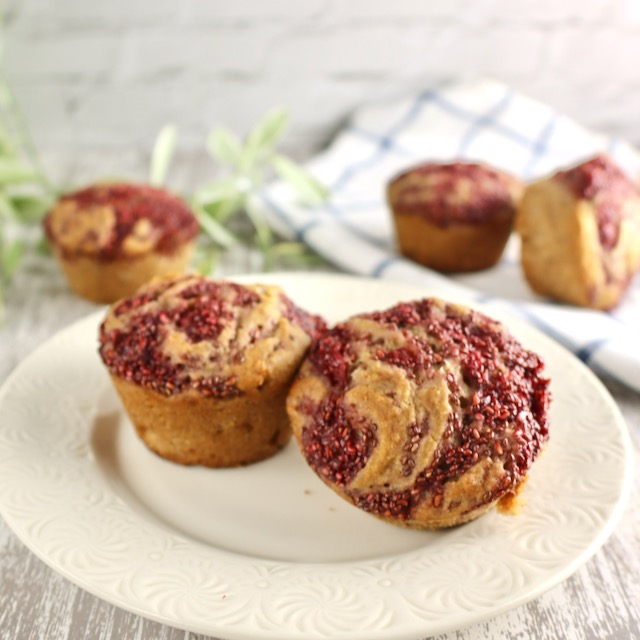 Cardamon Banada Swirl Muffins with strawberry  chia jm