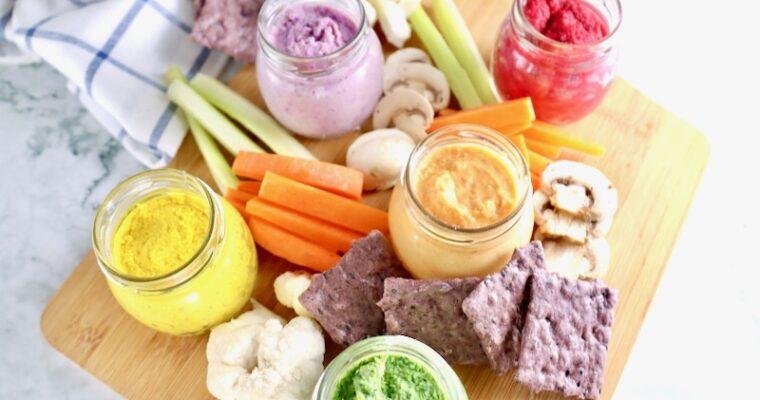 【栄養満点!】 ひよこ豆と野菜で作る虹色フムスのレシピ