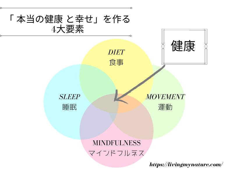 本当の健康 と幸せ」を作る4大要素 図