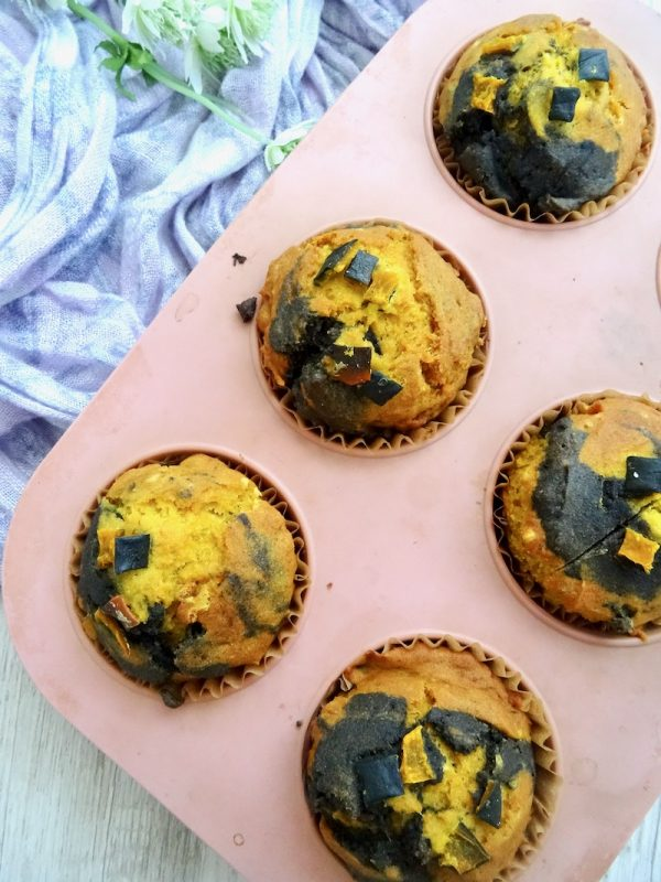 gluten free pumpkin and black sesame muffins