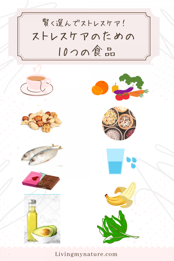 ストレスケアのための食品 pinterest画像