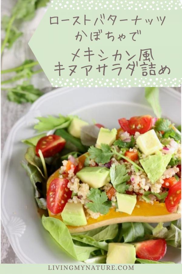 キヌア サラダを詰めたバターナッツかぼちゃ pinterest画像