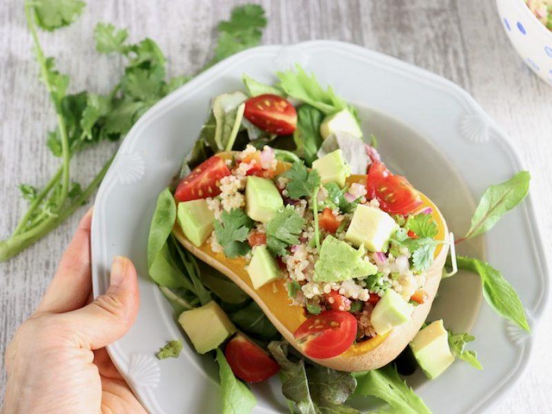 Quinoa salad stuffed butterniut pumpkin