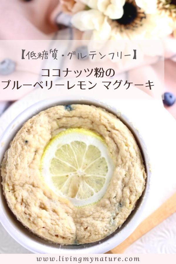 グルテンフリーココナッツ粉のブローベリーレモンマグケーキPINTEREST用画像